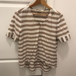 White and Taupe Blouse Hi-Lo size Small